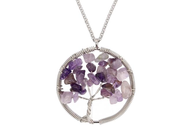 Ocelový náhrdelník s přívěskem strom života - ametyst