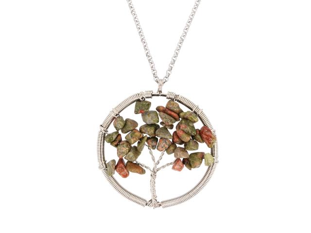Ocelový náhrdelník s přívěskem strom života - unakit