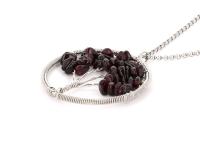 Ocelový náhrdelník s přívěskem strom života - granát