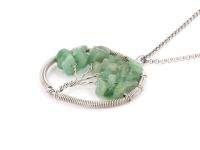 Ocelový náhrdelník s přívěskem strom života - avanturín