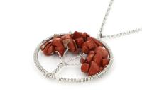 Ocelový náhrdelník s přívěskem strom života - červený jaspis