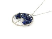 Ocelový náhrdelník s přívěskem strom života - lapis lazuli
