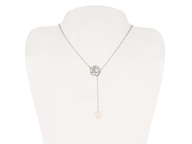 Ocelový náhrdelník s přívěskem růženín ve tvaru srdce