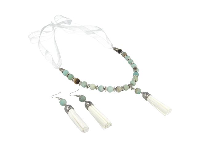 Souprava náhrdelník a náušnice amazonit