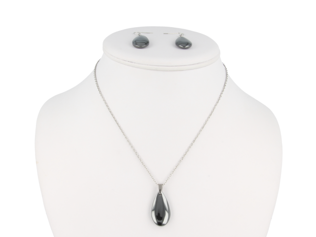 Ocelová souprava náhrdelník a náušnice hematit ve tvaru kapky