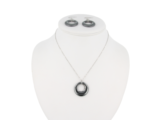 Ocelová souprava náhrdelník a náušnice hematit