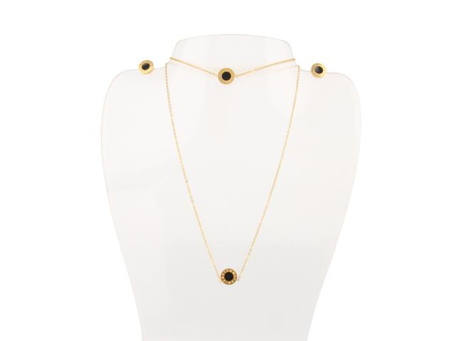 Ocelová souprava náhrdelník, náramek a náušnice Dial - zlatá