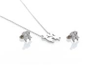 Ocelová souprava náhrdelník a náušnice - zamilovaná dvojice