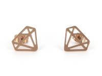 Ocelové náušnice Diamond - růžovo-zlaté