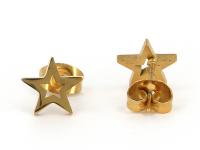 Ocelové náušnice Star - zlaté