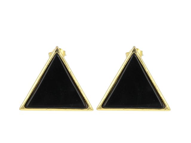 Náušnice černý achát - tvar trojúhelník