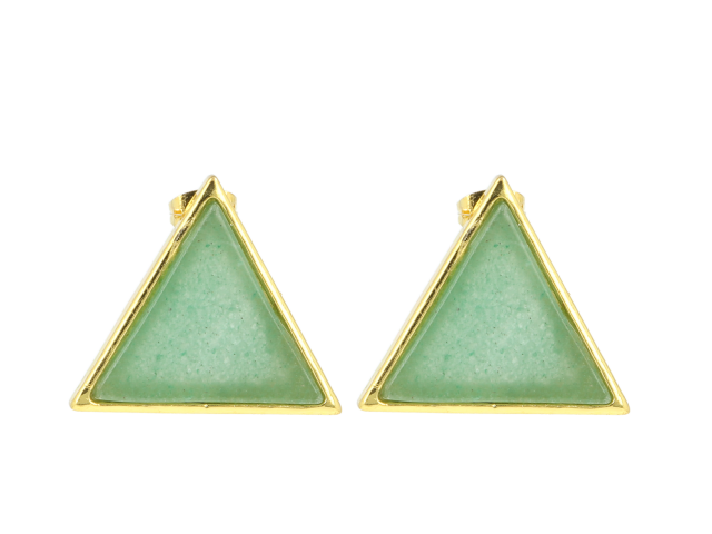 Náušnice avanturín - tvar trojúhelník