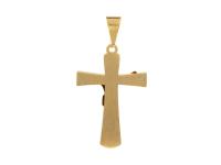 Ocelový přívěsek kříž - zlatý