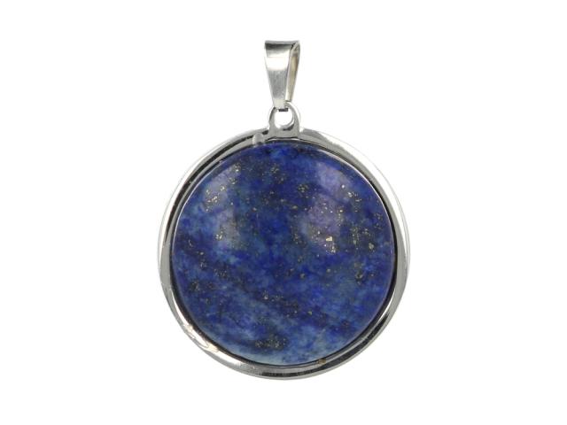 Ocelový přívěsek lapis lazuli - polokoule