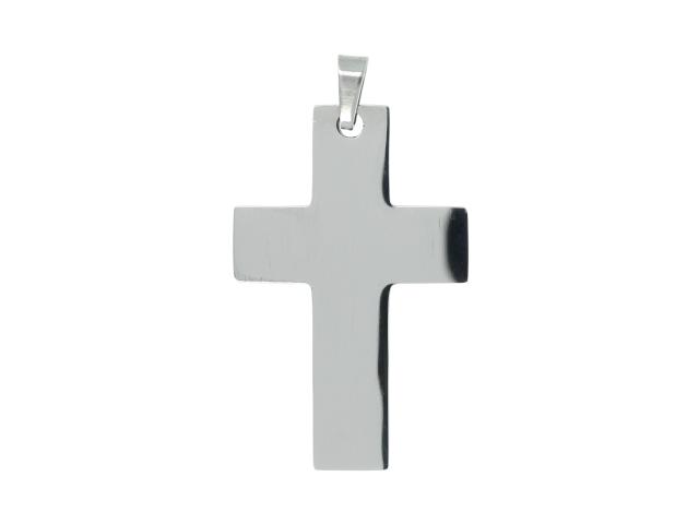 Ocelový přívěsek plochý kříž II
