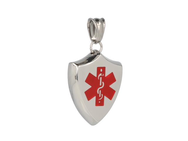 Ocelový ID přívěsek Medical ve tvaru štítu