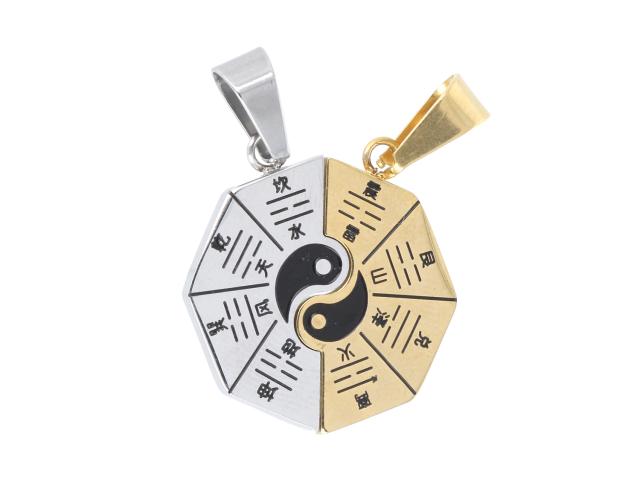Ocelový dvojpřívěsek Jin a Jang - stříbrný a zlatý