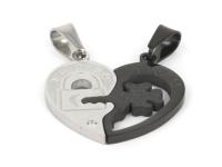 Ocelový dvojpřívěsek - srdce a klíč - stříbrný a gunmetal