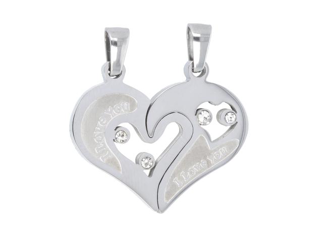 Ocelový dvojpřívěsek - propojené srdce