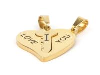 Ocelový dvojpřívěsek - klíč k srdci I love you - zlatý