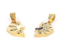 Ocelový dvojpřívěsek Jin a Jang - zlatý