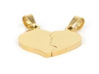 Ocelový dvojpřívěsek - srdce - zlatý