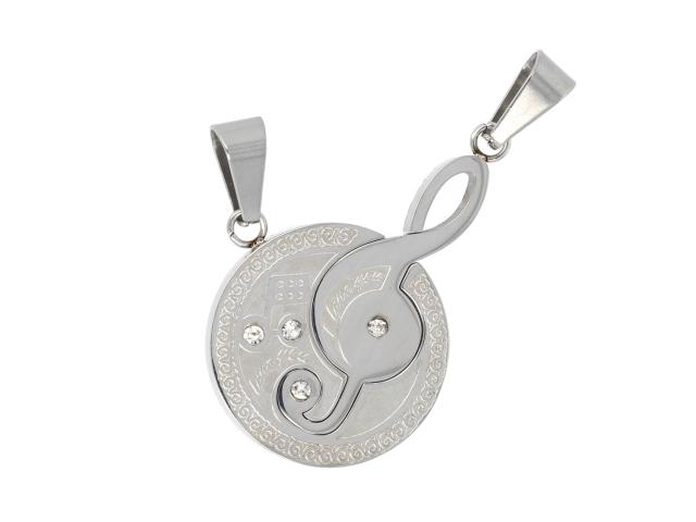 Ocelový dvojpřívěsek - houslový klíč a nota