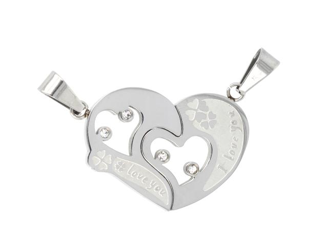 Ocelový dvojpřívěsek - srdce