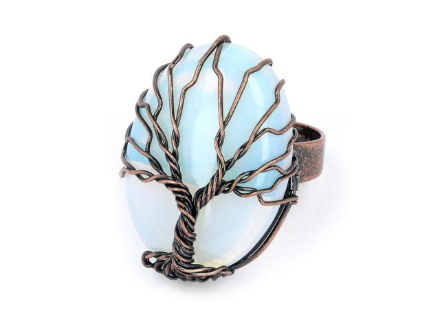 Nastavitelný drátovaný prsten opalit a strom života