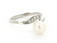 Nastavitelný prsten bílá perla s krystalky