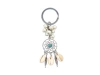 Klíčenka tyrkenit, shell perly a mušle Kauri - lapač snů