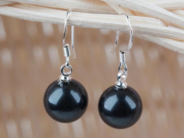 Náušnice černá 10mm shell perla + Ag925