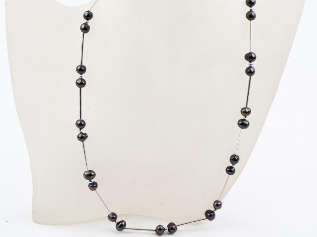 Jednoduchý náhrdelník černé říční perly