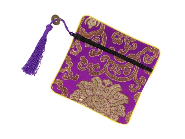Hedvábný sáček na zip se střapcem - fialový