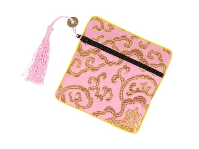 Hedvábný sáček na zip se střapcem - růžový