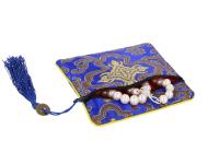 Hedvábný sáček na zip se střapcem - modrý