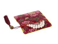 Hedvábný sáček na zip se střapcem - bordový II