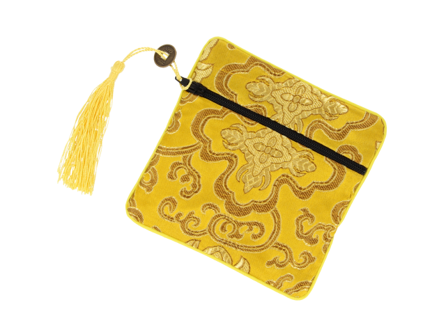 Hedvábný sáček na zip se střapcem - zlatý