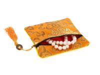 Hedvábný sáček na zip se střapcem - oranžový