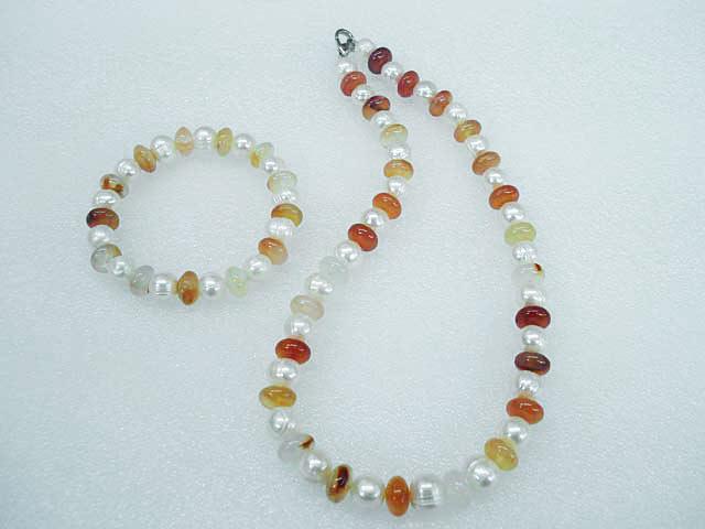 Souprava náramek a náhrdelník achát a perly