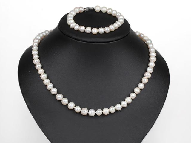 Souprava náhrdelník a náramek bílé říční perly 8-9 mm