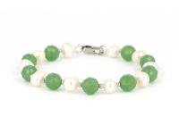 Souprava náramek a náhrdelník bílá perla a avanturín
