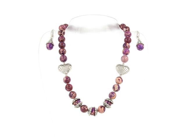 Souprava náhrdelník a náušnice fialový jaspis