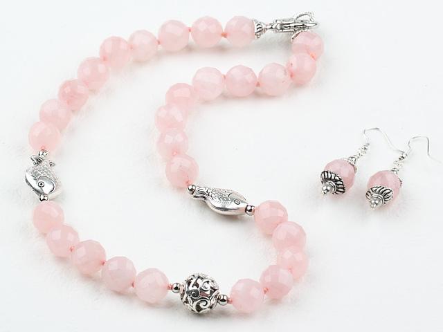 Souprava náhrdelník a náušnice růženín 12 mm