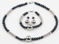 Souprava náhrdelník, náramek a náušnice černé říční perly