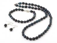 Souprava náhrdelník, náramek a náušnice černé říční perly 6-7 mm