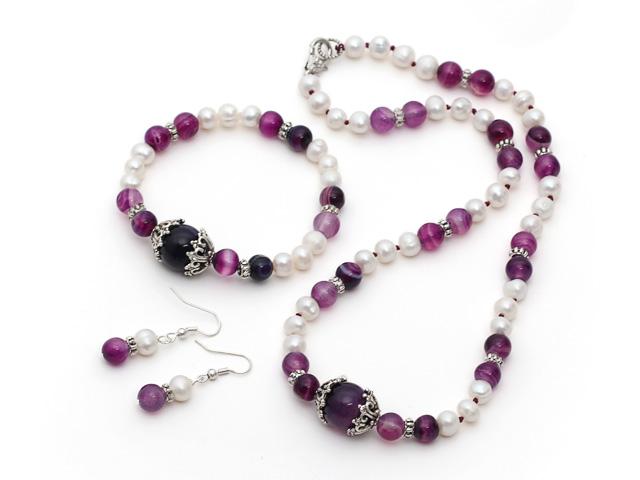 Souprava náhrdelník, náramek a náušnice bílé říční perly a fialový achát