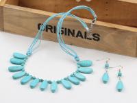 Souprava náhrdelník a náušnice tyrkenit ve tvaru kapek
