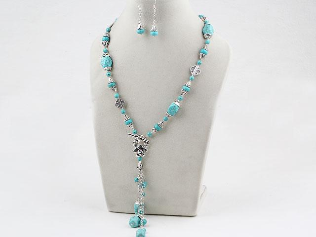 Souprava náhrdelník ve tvaru Y a náušnice tyrkenit