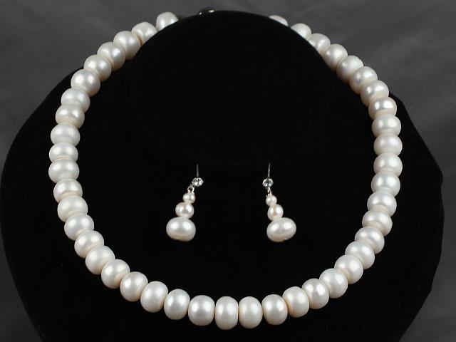 Souprava náhrdelník a náušnice bílé říční perly 12 mm